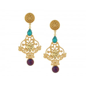 Silver Alloy Gold Plated Turquoise & Red Malachite Earring