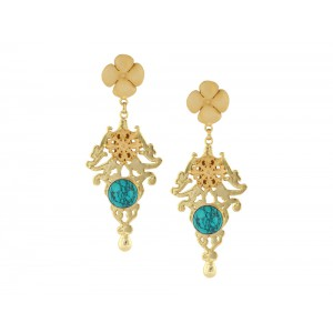 Silver Alloy Gold Plated Met & Finish Turquoise Earring
