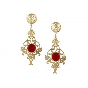 Silver Alloy Gold Plated Ruby Hydro Earring