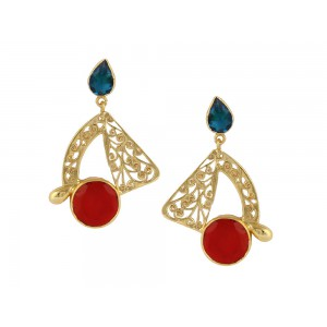 Silver Alloy Gold Plated Blue Hydro & Ruby Hydro Earring