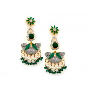Silver Gold Plated Green Onyx, Pearl & Zircon Earring