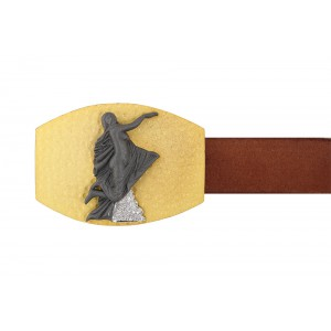 Silver Alloy Gold Plated with Black Rhodium Zircon Angel Belt Buckle