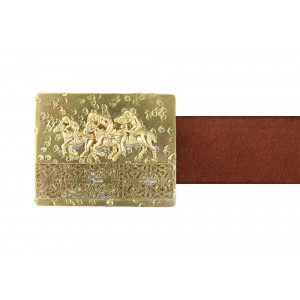 Silver Alloy Gold Plated Play Polo Belt Buckle