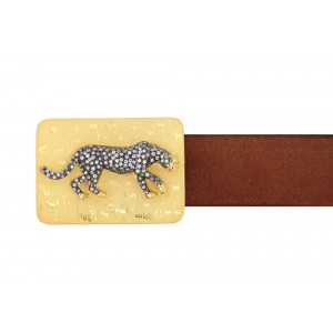 Silver Alloy Gold Plated with Black Rhodium Tiger Zircon Belt Buckle