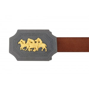 Silver Alloy Gold Plated with Black Rhodium Polo Belt Buckle