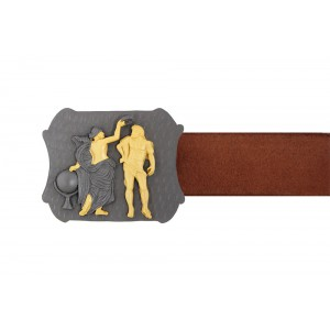 Silver Alloy Gold Plated with Black Rhodium Greek Antique Belt Buckle
