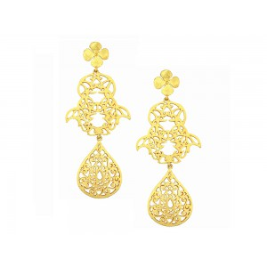 Silver Alloy Floral Earring
