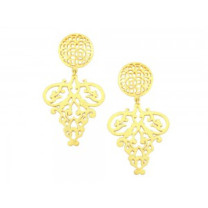 Silver Alloy with Gold Plated Earring