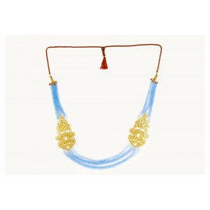 Silver Alloy Gold Plated Floral Light Blue Beads Necklace