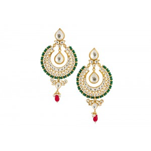Silver Gold Plated Crystal Polki ,Pearl, Ruby & Green Earring