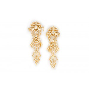 Silver Gold Plated Pearl & Crystal Polki Earring