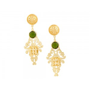 Silver Alloy Green Hydro Glass Earring