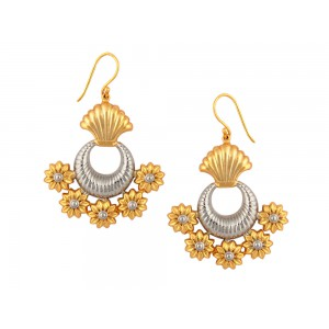 Silver Gold Plated Floral Half Moon Earring