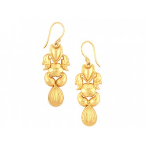 Silver Gold Plated Floral Fish Hook Designer Earring