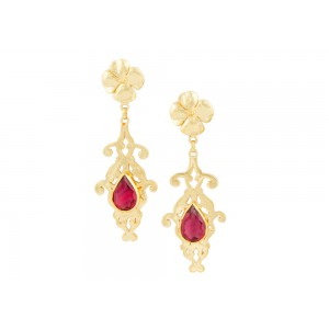 Silver Alloy Gold Plated Pink Hydro Glass Earring