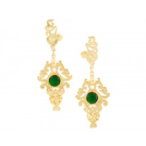 Silver Alloy Gold Plated Green Hydro Glass Floral Earring