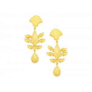 Silver Gold Plated Leaf Dangler Earring