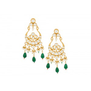 Silver Gold Plated Crystal Polki, Pearl & Color Gemstone Earriing