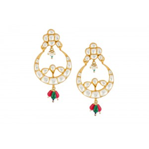 Silver Gold Plated Crystal Polki & Green, Red, Pearl Gemstone Earriing
