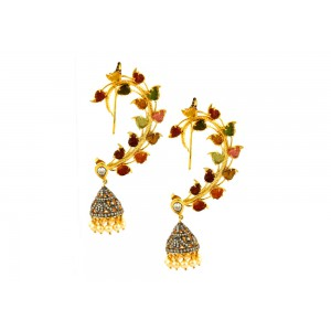 Silver Gold Plated with Black Rhodium Tourmaline & Zircon Jhumki Earcuff