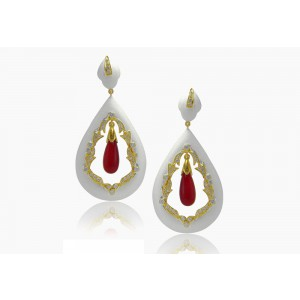 Silver Gold Plated Ruby & Zircon Earring