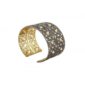 Silver Alloy Gold Plated with Black Rhodium Net Handcuff