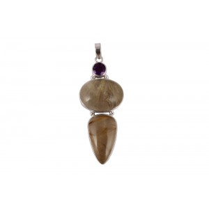 Silver Wooden Rutile & Amethyst Pendant