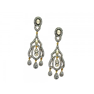 Silver Gold Plated with Black Rhodium Crystal Polki & Zircon Designer Earring