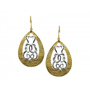 Silver Gold Plated Ruby Snake Earring