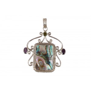 Silver Mother of Pearl, Amethyst, & Peridot Pendant