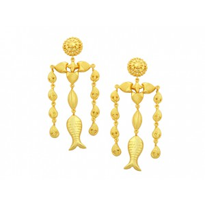 Silver Gold Plated Fish Dangler Drop Earring