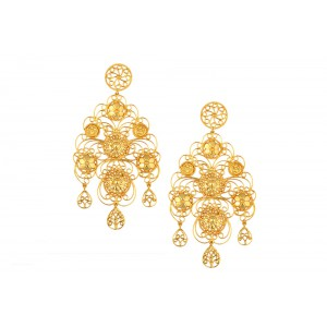 Silver Gold Plated Multi Floral Earring