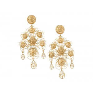 Silver Gold Plated Designer Multi Floral Earring