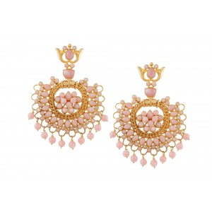 Silver Gold Plated Pink Opal Earring