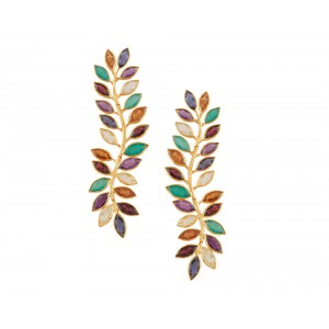 Silver Gold Plated Multi Semi Precious Gemstone Earring