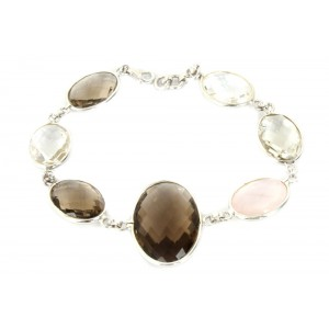 Silver Multi Oval Gemstone Bracelet