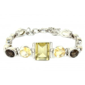 Silver Multi Colour Gemstone Bracelet