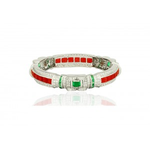Silver Ruby, Green Onyx & Zircon Bangle