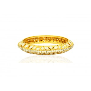 Silver Gold Plated Crystal Polki & Zircon Bangle