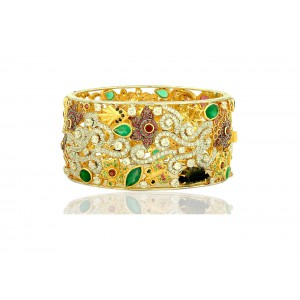 Silver Gold Plated Tsavorite, Blue Sapphire, Ruby, Multi Tourmaline, Green Onyx, Garnet & Zircon Floral Bangle