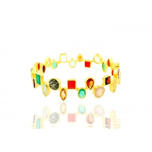 Silver Gold Plated  Multi Semi Precious Gemstone Bangle