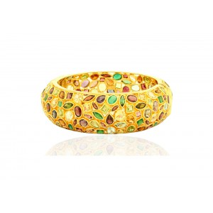 Silver Gold Plated Multi Colour Semi Precious Gem Bangle