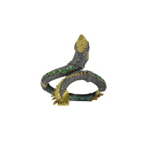 Silver Gold Plated with Black Rhodium Ruby, Green Onyx & Zircon Snake Designer Bangle