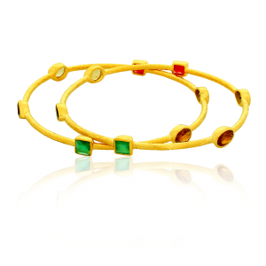 Silver Gold Plated Ruby, Green Onyx, Citrine & Garnet Bangle
