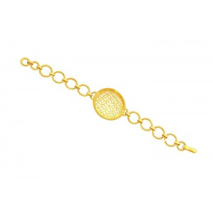 Silver Alloy Gold Plated Linked Bracelet