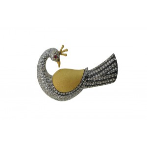 Silver Gold Plated with Black Rhodium Ruby & Zircon Peacock Brooch