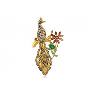 Silver Gold Plated with Black Rhodium Green Onyx, Tourmaline & Zircon Bird Brooch