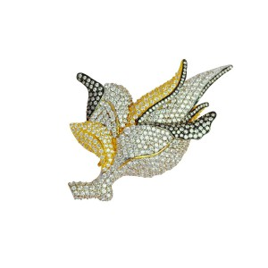 Silver Gold Plated with Black Rhodium Zircon Floral Brooch