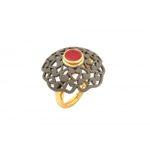 Silver Gold Plated with Black Rhodium Ruby Ring