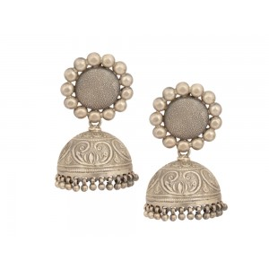 Silver Beads Tribal Jhumki